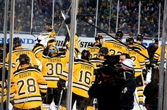 The Bruins celebrate after winning the 2010 NHL Winter Classic. For the game, the Bruins hosted the Philadelphia Flyers at Fenway Park.