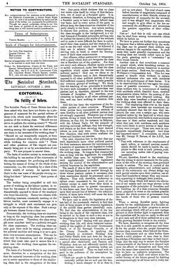 "Editorial ""The Futility of Reform"" by Socialist Standard, October 1904"