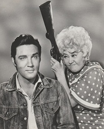 Presley (left) and Joan Blondell in October 1967, featured on a publicity portrait for Stay Away, Joe. After years of working for the film industry, Presley became unhappy with the quality of his roles.