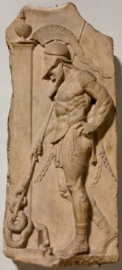Roman Neo-Attic stele depicting a warrior in a muscle cuirass, idealizing the male form without nudity (1st century BC)