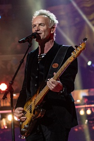 Sting, principal songwriter, lead singer and bassist for English rock band The Police