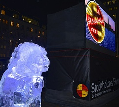 Ai Weiwei's ice sculptures at Norrmalstorg during the Stockholm Film Festival 2014