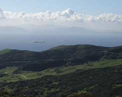 A view across the Strait of Gibraltar taken from the hills above Tarifa, Spain