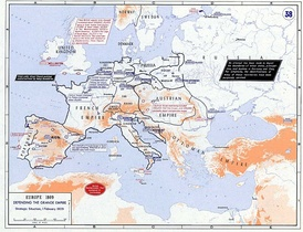 Map of Europe showing French armies in Southern Germany and Austrian armies assembling to the southeast.