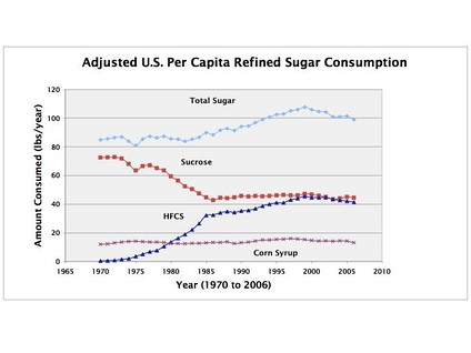 Figure 3: Adjusted consumption of refined sugar per capita in the US