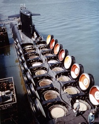 USS Sam Rayburn showing the hatches for the UGM-27 Polaris missiles