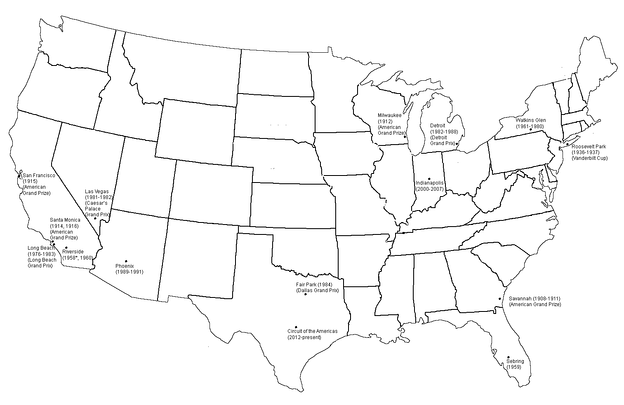 A map of all the Grands Prix (some of which had titles other than United States Grand Prix) held in the United States