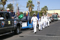 Sailors take part in the annual St. Patrick's Day parade.