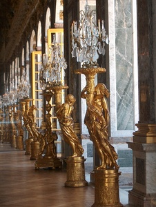 Guerdirons or candle holders in the Hall of Mirrors