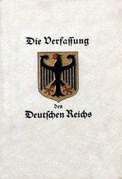 The 'Weimar Constitution' in booklet form. The constitution itself required that it be provided to school children at the time of their graduation.