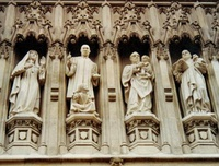 From the Gallery of 20th-century martyrs at Westminster Abbey – Mother Elizabeth of Russia, Rev. Martin Luther King, Archbishop Óscar Romero and Pastor Dietrich Bonhoeffer
