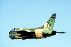 An A-7D Corsair II of the 198th Tactical Fighter Squadron, 156th Tactical Fighter Group in flight prior to the 12 January 1981 attack. This was one of the destroyed aircraft.