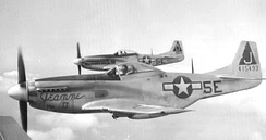"North American P-51D-15-NA Mustangs of the 385th Fighter Squadron. 44-15493 ""Jeannie II"" in foreground, 44-14322 ""Coffin Wit Wings"" behind"