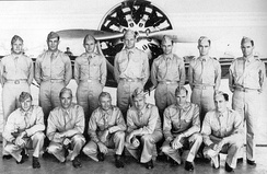 Pilots of the 37th Pursuit Group, Albrook Field, Panama, 1941 in front of a Boeing P-26.