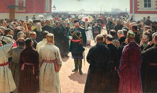 Alexander receiving rural district elders in the yard of Petrovsky Palace in Moscow; painting by Ilya Repin