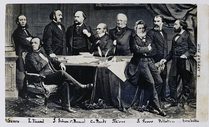 The provisional government in 1870–1871; Thiers in the center, Gambetta at far right.