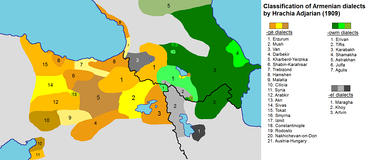 Map of the Armenian dialects in early 20th century:   -owm dialects, nearly corresponding to Eastern Armenian   -el dialects (intermediate)   -gë dialects, nearly corresponding to Western Armenian