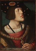 Portrait by Bernard van Orley of Charles V, 1519 - showing detail of the firesteel in the collar
