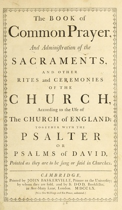 A 1760 printing of the 1662 Book of Common Prayer