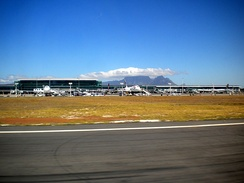 Airport and Table Mountain as viewed from the runway upon take-off.