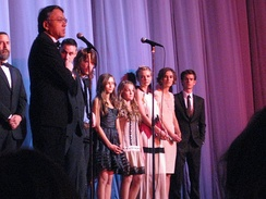 Ishiguro (front) with the cast of the Never Let Me Go film in 2010
