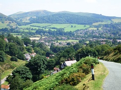 The northern parts of the town from the Burway; the entrance to Carding Mill Valley is below on the left