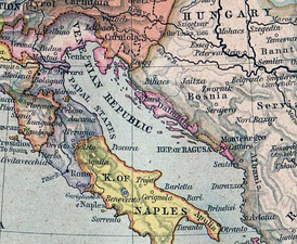 Dalmatian possessions of the Venetian Republic and the Republic of Ragusa in 1560.