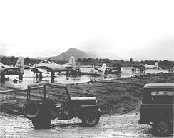 Damage caused by a communist ground attack on Luang Prabang airfield, 1967