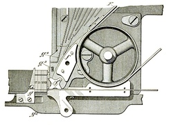 Diagram of the assembler mechanism, showing how the matrices go from the magazine and are put into place in line being formed (in a machine ca. 1904)