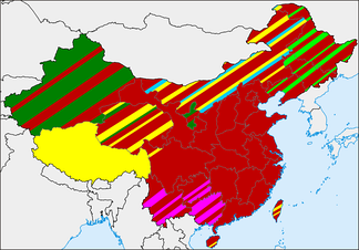 Geographic distribution of religions in China.[547][548][549][550]■ Chinese folk religion (and Confucianism, Taoism, and groups of Chinese Buddhism)■ Buddhism tout court■ Islam■ Ethnic minorities' indigenous religions■ Mongolian folk religion■ Northeast China folk religion influenced by Tungus and Manchu shamanism, widespread Shanrendao