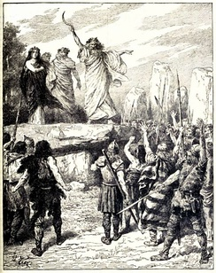 Druids Inciting the Britons to oppose the landing of the Romans – from Cassell's History of England, Vol. I – anonymous author and artists