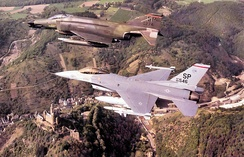 F-4G and F-16C aircraft of the 52d Tactical Fighter Wing, Spangdahlem AB, West Germany, c. 1987