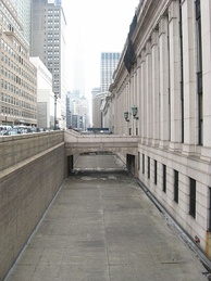 Dry moat at the James Farley Post Office in New York City.