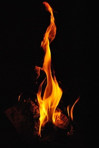 Photo of a fire taken with a 1/4000th of a second exposure