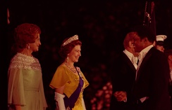 Mays with Queen Elizabeth II (center) and First Lady Betty Ford (left) at the White House in 1976