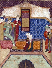"Left image: ""Güyük interrogating Djamâl al-Dîn Mahmûd Hudjandî"", depicting a carpet in geometric design. Timurid period, AD 1438. Bibliothèque nationale de France Right image: Court scene, early 16th century miniature, depicting a carpet with ""medallion and corners"" design Walters Art Museum"
