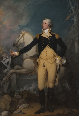American General Washington surveys the area, white horse in the background, on the night before the Battle of Princeton