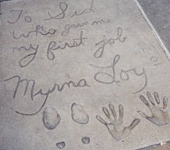 Many older entries contain personal messages to Sid Grauman, such as Myrna Loy's 1936 contribution.  Loy's first job was as a dancer at the theatre in the 1920s.