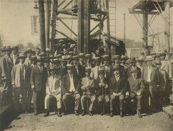 Groundbreaking ceremony of Ginza Line, the oldest subway line in Asia, 1925. Front row, right to left: Rudolf Briske, Noritsugu Hayakawa, Furuichi Kōi, Ryutaro Nomura.