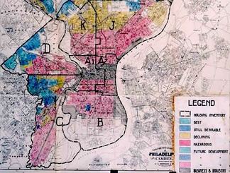 A HOLC 1936 security map of Philadelphia showing redlining of lower income neighborhoods.[1]