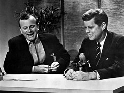 Jack Paar interviewing John F. Kennedy on New York City's The Tonight Show, 1959.