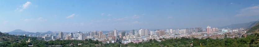 Panoramic view of Lanzhou city centre