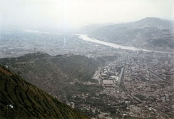 View of Lanzhou as seen from mount Lanshan, looking towards the west. (1989)