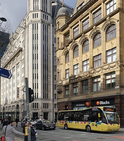 Free buses operate on two routes around Manchester city centre. Each bus departs every 10 minutes, Monday to Saturday.[134]