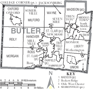 Map of Butler County, Ohio with municipal and township labels