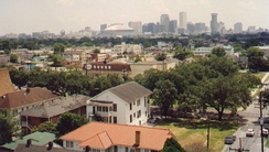 A view across Uptown New Orleans, with the Central Business District in the background, August 1991