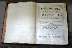 Newton's own copy of his Principia, with hand-written corrections for the second edition, in the Wren Library at Trinity College, Cambridge.