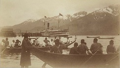 Olympian in Alaska, summer 1887. Tlingit people shown in foreground.