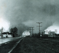 This double tornado hit the Midway Trailer Court northwest of Goshen on U.S. 33, Palm Sunday, 1965.