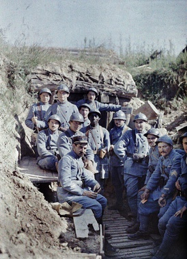 French poilus (soldiers) posing in a trench, 16 June 1917.